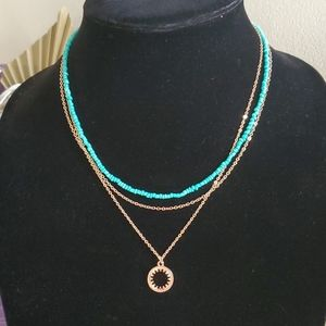Rose Gold and Turquoise Sun Necklace NWT NIP NIB